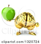Clipart Of A 3d Gold Brain Character Holding And Pointing To A Green Apple Royalty Free Illustration