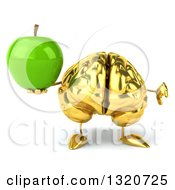 Clipart Of A 3d Gold Brain Character Giving A Thumb Down And Holding A Green Apple Royalty Free Illustration