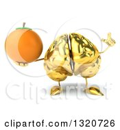 Clipart Of A 3d Gold Brain Character Holding Up A Finger And A Navel Orange Royalty Free Illustration