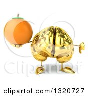 Clipart Of A 3d Gold Brain Character Giving A Thumb Down And Holding A Navel Orange Royalty Free Illustration