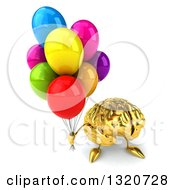 Clipart Of A 3d Gold Brain Character Holding Up Party Balloons Royalty Free Illustration
