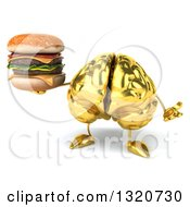 Clipart Of A 3d Gold Brain Character Shrugging And Holding A Double Cheeseburger Royalty Free Illustration