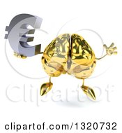 Clipart Of A 3d Gold Brain Character Jumping And Holding A Euro Symbol Royalty Free Illustration