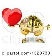 Clipart Of A 3d Gold Brain Character Giving A Thumb Down And Holding A Heart Royalty Free Illustration