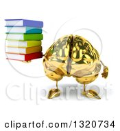 Clipart Of A 3d Gold Brain Character Holding A Stack Of Books Royalty Free Illustration