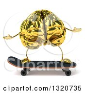 Clipart Of A 3d Gold Brain Character Skateboarding Royalty Free Illustration
