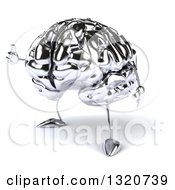 Clipart Of A 3d Chrome Brain Character Facing Left And Giving A Thumb Up Royalty Free Illustration by Julos