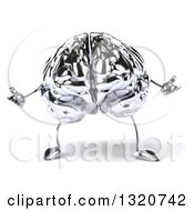 Clipart Of A 3d Chrome Brain Character Welcoming Or Shrugging Royalty Free Illustration by Julos