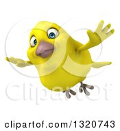 Clipart Of A 3d Yellow Bird Flying Royalty Free Illustration