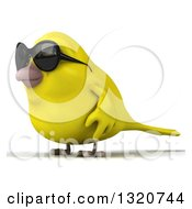 Clipart Of A 3d Yellow Bird Wearing Sunglasses And Facing Left Royalty Free Illustration