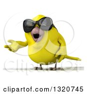 Clipart Of A 3d Yellow Bird Wearing Sunglasses And Presenting Royalty Free Illustration