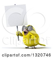 Clipart Of A 3d Yellow Bird Wearing Sunglasses Holding And Pointing To A Blank Sign Royalty Free Illustration by Julos