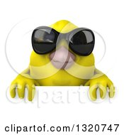 Clipart Of A 3d Yellow Bird Wearing Sunglasses Over A Sign Royalty Free Illustration