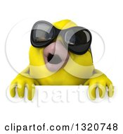 Clipart Of A 3d Yellow Bird Wearing Sunglasses Over A Sign 2 Royalty Free Illustration
