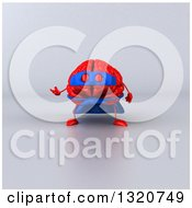 Clipart Of A 3d Jumping Red Super Hero Brain Character Presenting Over Gray Royalty Free Illustration