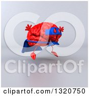 Clipart Of A 3d Jumping Red Super Hero Brain Character Facing Right And Jumping Over Gray Royalty Free Illustration
