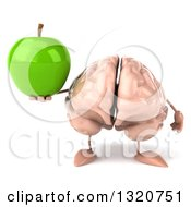 Clipart Of A 3d Brain Character Holding A Green Apple Royalty Free Illustration