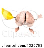 Clipart Of A 3d Brain Character Jumping And Holding A Banana Royalty Free Illustration