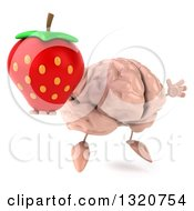 Clipart Of A 3d Brain Character Facing Slightly Right Jumping And Holding A Strawberry Royalty Free Illustration