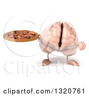 Clipart Of A 3d Brain Character Holding And Pointing To A Pizza Royalty Free Illustration
