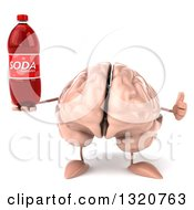 Clipart Of A 3d Brain Character Giving A Thumb Up And Holding A Soda Bottle Royalty Free Illustration