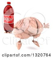 Clipart Of A 3d Brain Character Facing Slightly Right Jumping And Holding A Soda Bottle Royalty Free Illustration