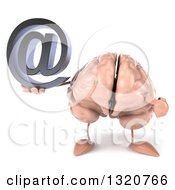 Clipart Of A 3d Brain Character Holding And Pointing An Email Arobase At Symbol Royalty Free Illustration