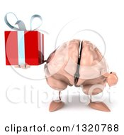 Clipart Of A 3d Brain Character Holding And Pointing To A Gift Royalty Free Illustration