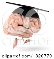 Clipart Of A 3d Brain Character Running To The Right And Wearing A Graduation Hat Royalty Free Illustration
