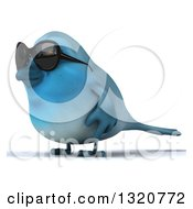Clipart Of A 3d Bluebird Wearing Shades Facing Left Royalty Free Illustration