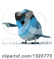 Clipart Of A 3d Bluebird Wearing Shades Pointing Left Royalty Free Illustration