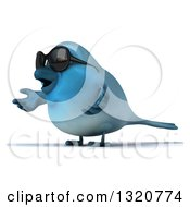 Clipart Of A 3d Bluebird Wearing Shades Facing Left And Shrugging Royalty Free Illustration