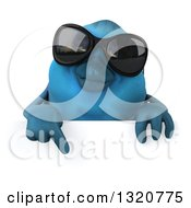 Clipart Of A 3d Bluebird Wearing Shades Pointing Down Over A Sign Royalty Free Illustration