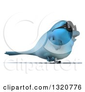 Clipart Of A 3d Bluebird Wearing Shades Walking To The Right Royalty Free Illustration