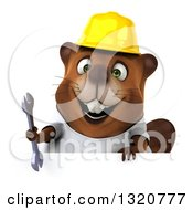 Clipart Of A 3d Construction Beaver Wearing A T Shirt And Hardhat Holding A Wrench Over A Sign Royalty Free Illustration