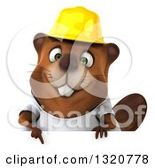 Clipart Of A 3d Construction Beaver Wearing A T Shirt And Hardhat Pointing Down Over A Sign Royalty Free Illustration