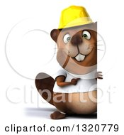 Clipart Of A 3d Full Length Construction Beaver Wearing A T Shirt And Hardhat Pointing Around A Sign Royalty Free Illustration