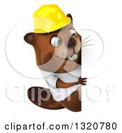 Clipart Of A 3d Construction Beaver Wearing A T Shirt And Hardhat Looking Around A Sign Royalty Free Illustration