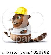 Clipart Of A 3d Construction Beaver Wearing A T Shirt And Hardhat Walking To The Left Royalty Free Illustration
