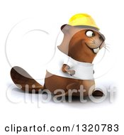 Clipart Of A 3d Construction Beaver Wearing A T Shirt And Hardhat Walking To The Right Royalty Free Illustration