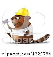 Clipart Of A 3d Construction Beaver Wearing A T Shirt And Hardhat Holding An Axe And Walking To The Left Royalty Free Illustration
