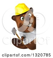 Clipart Of A 3d Construction Beaver Wearing A T Shirt And Hardhat Holding An Axe Around A Sign Royalty Free Illustration