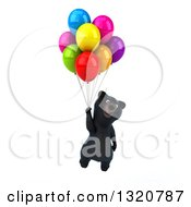 Clipart Of A 3d Happy Black Bear Floating With Balloons Royalty Free Illustration