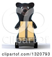 Clipart Of A 3d Happy Black Bear Moving Boxes On A Dolly Royalty Free Illustration