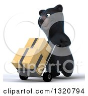 Clipart Of A 3d Happy Black Bear Walking To The Left Moving Boxes On A Dolly Royalty Free Illustration