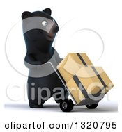 Clipart Of A 3d Happy Black Bear Walking To The Right Moving Boxes On A Dolly Royalty Free Illustration