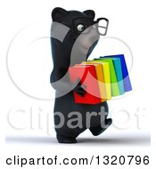 Clipart Of A 3d Bespectacled Happy Black Bear Walking To The Right And Carrying Books Royalty Free Illustration