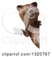 Clipart Of A 3d Happy Brown Bear Holding An Envelope Around A Sign Royalty Free Illustration