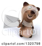 Clipart Of A 3d Happy Brown Bear Holding Up An Envelope Royalty Free Illustration