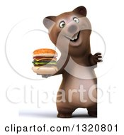 Clipart Of A 3d Full Length Happy Brown Bear Holding A Double Cheeseburger Around A Sign Royalty Free Illustration